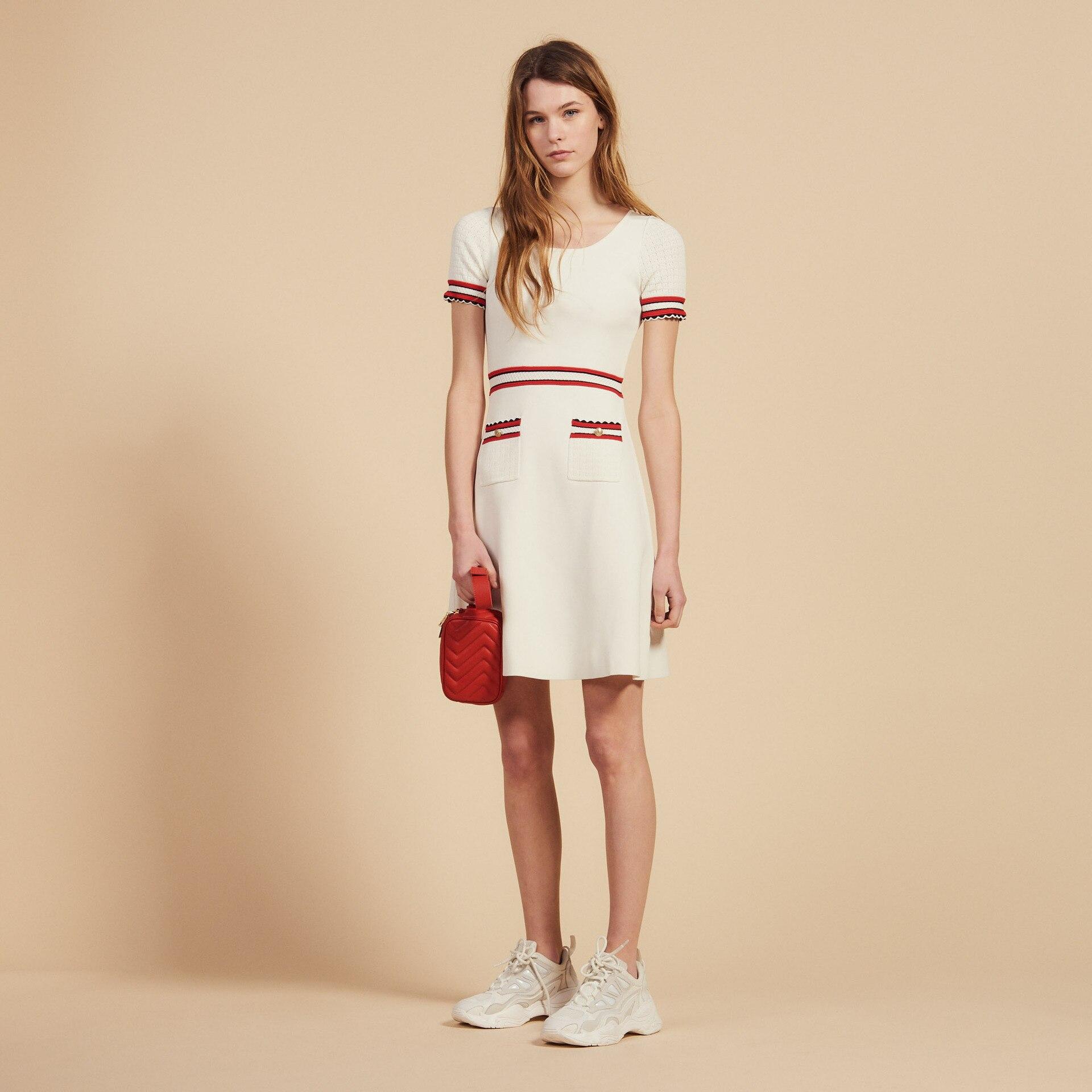 Women Dress 2019 Spring and Summer New Round Neck Stitching Pocket Dress