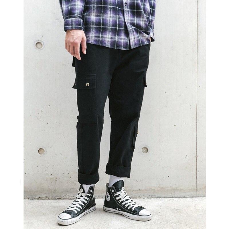Hip hop high street Automne vêtements à la mode solide couleur hommes en trois dimensions de poche pantalon couture salopettes occasionnels