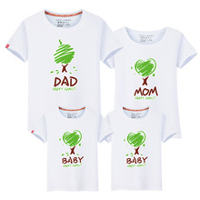 Family matching clothing mother and daughter clothes family look t-shirt son outfits cotton letter dad love