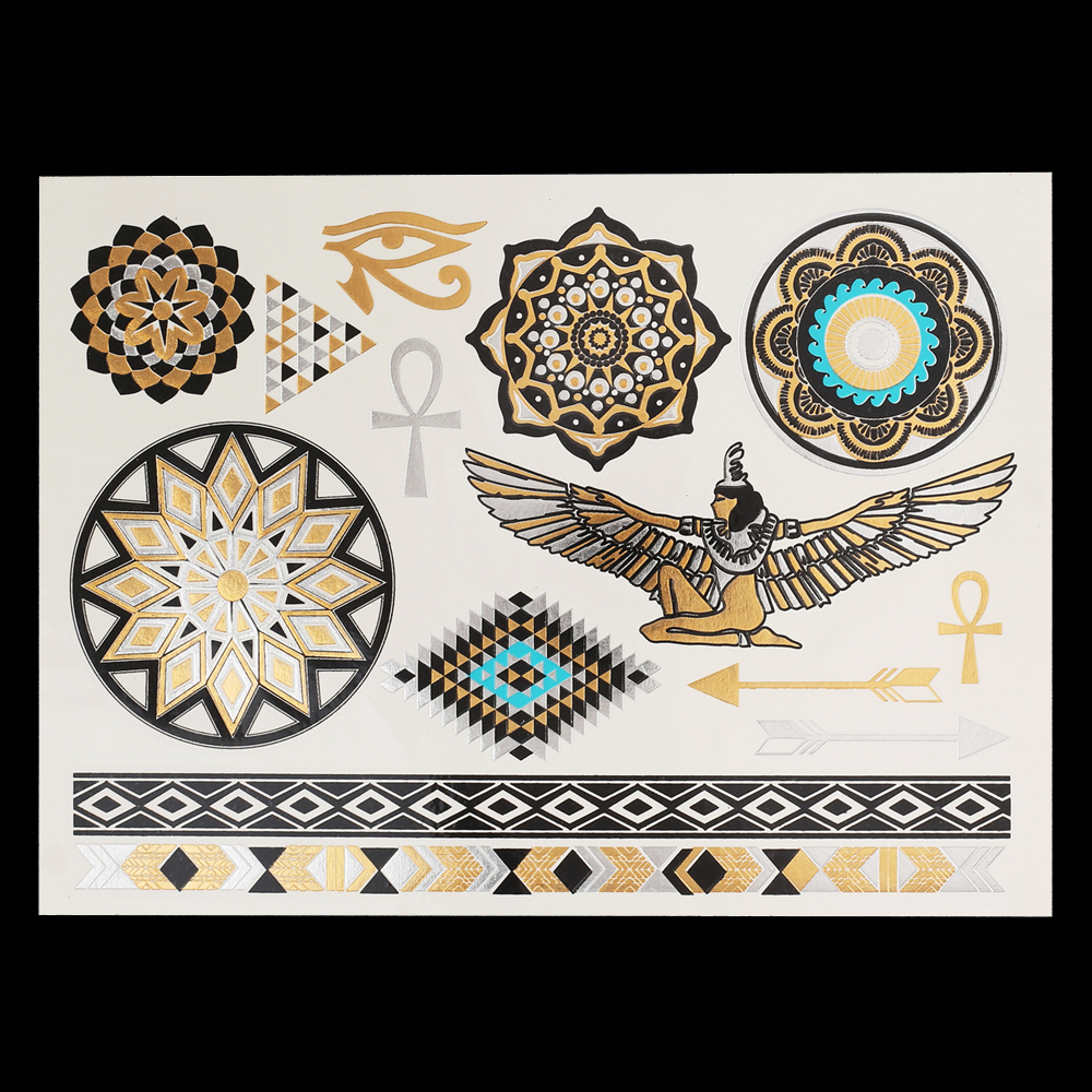 High quality hot sale fashion women's sexy tattoo gold and silver Flash tatuajes waterproof temporary tattoo stickers
