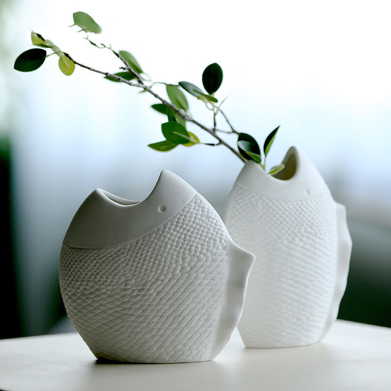Nordic Dried Flower Vase White Fish Model Ceramic Vase Ornaments Home Decor Creative Hydroponic Plant Holder Desktop Crafts Gift