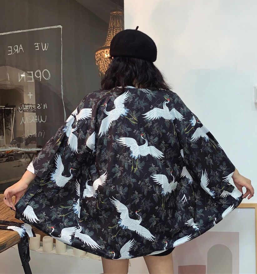 קימונו אישה 2019 יפני קימונו קרדיגן קוספליי חולצה חולצה לנשים יפני יאקאטה נשי קיץ חוף קימונו