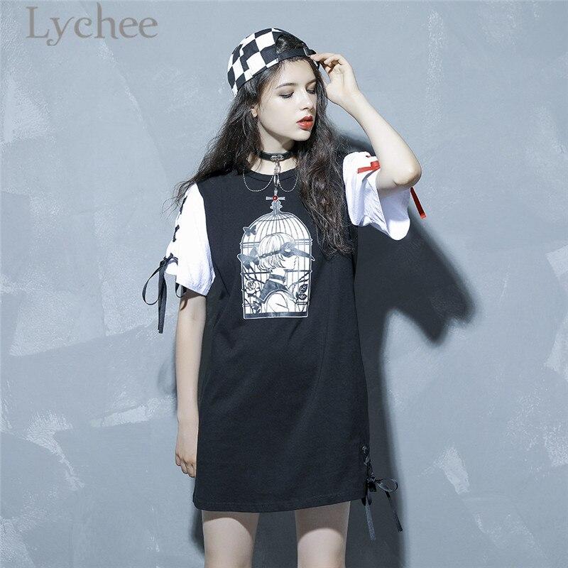 Lychee Harajuku Birdcage Girl Lace Up Dress Short Sleeve O Neck Character Print Dresses Spring Summer Loose Straight Dress
