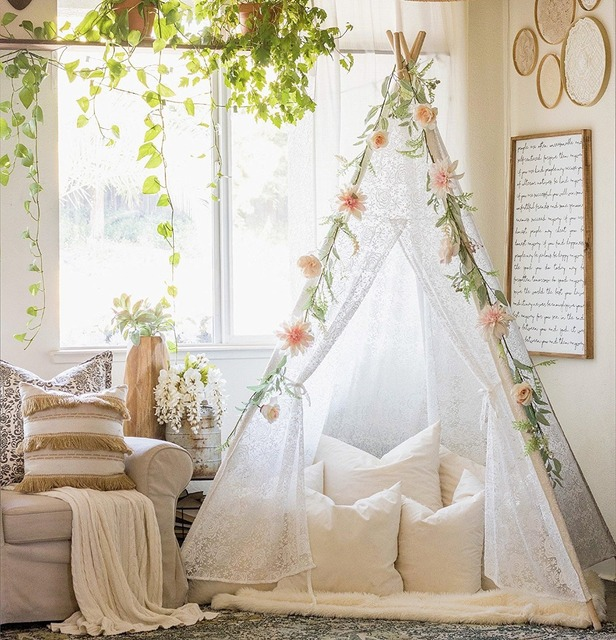 White Sheer Lace Teepee Girls Teepee Princess Play Tent Teepee Tent for Girls Tipi Wigwam & White Sheer Lace Teepee Girls Teepee Princess Play Tent Teepee Tent ...