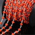5 м оранжевый красного стекла бусины провода обернуты бисером ленты цепи, Грановитая Rondelle розария цепи, Женщины ожерелье изготовления ювелирных изделий