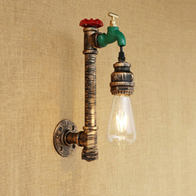 E27 wall sconce retro loft vintage steam punk Pipe wall light cafe bar club bedside corridor aisle restaurant wall lamp bra стоимость