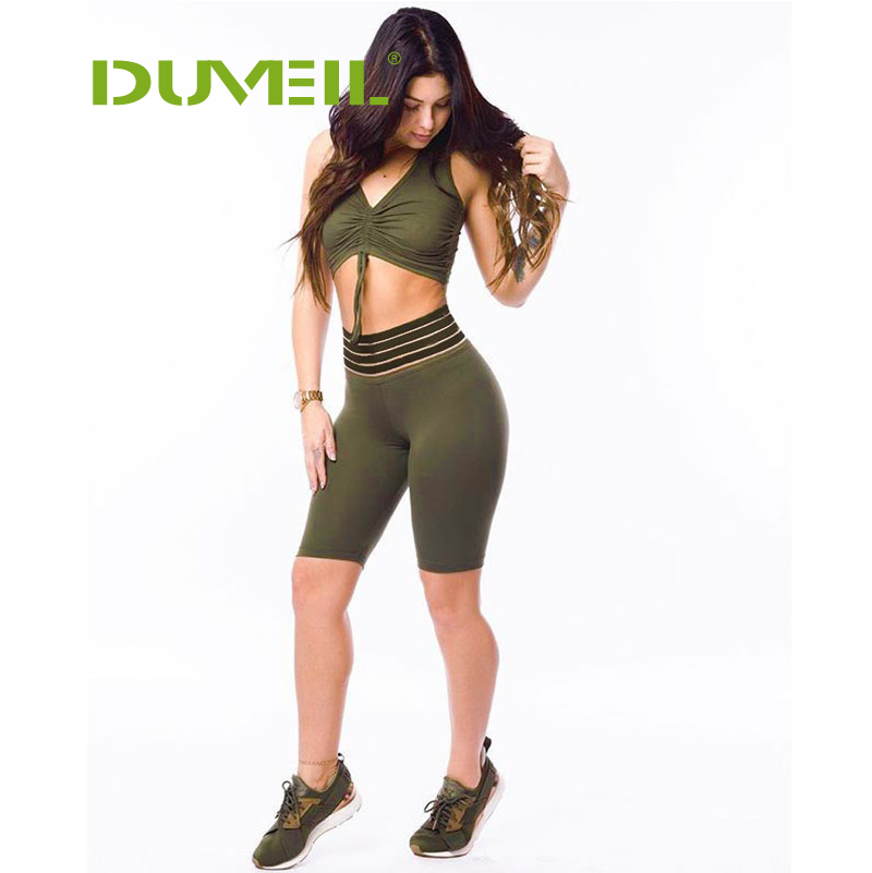 DUVEIL Sleeveless Solid  Stitching Five-part Trousers Suit Leisure Yoga Sports Two-piece Pants+ Bra