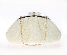 Nuevo diseño crema señora banquete bolso de embrague partido nupcial bolso de noche las mujeres con la cadena del hombro cosmética bolso mujer bolso 031123