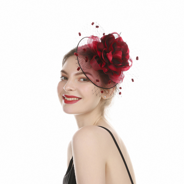Elegant  Hair Clip Flower Feather Beaded Fascinator 2