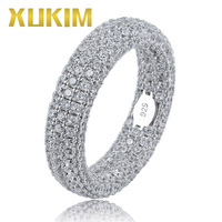 Xukim Jewelry Full Iced Out Three Layer 925 Sterling Silver Hip Hop Ring Wedding Engagement Ring Jewelry Gift for Men Women