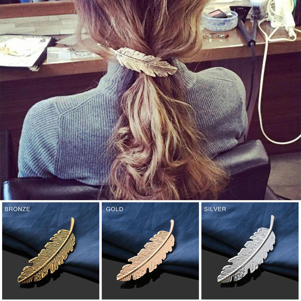 1Pc Fashion Metal Leaf Shape Hair Clip Barrettes Crystal Pearl Hairpin Barrette Color Feather Hair Claws Gifts Hair Styling Tool