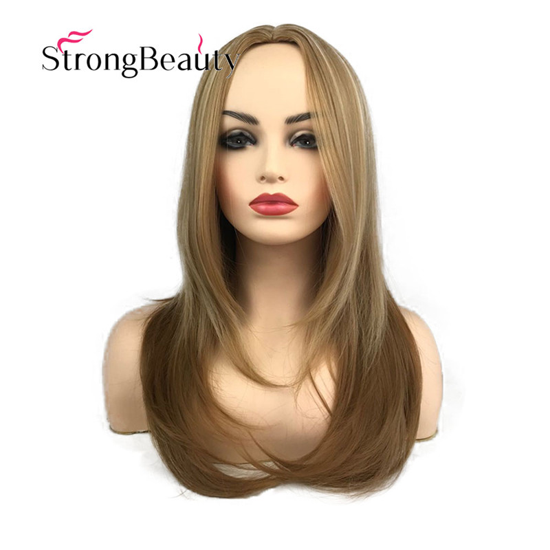 StrongBeauty Long Straight Wigs Women's Synthetic Wig Layered Cut Hair Middle Parting Natural Wigs(China)