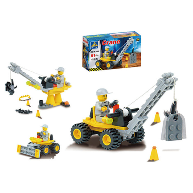 51pcs/set Mini Crane DIY Assembly Building Blocks Kits Children Educational Puzzle Toys Kids Birthday Gifts