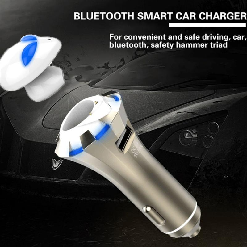 Wireless Bluetooth Headset With Car Charger And Safety Escape Triad In-Ear Headphones V4.0  Sweatproof Earbuds 2017 new 3 in 1 mini bluetooth headset phone usb car charger escape safety hammer micro wireless earphone for xiaomi mi6 mi 6