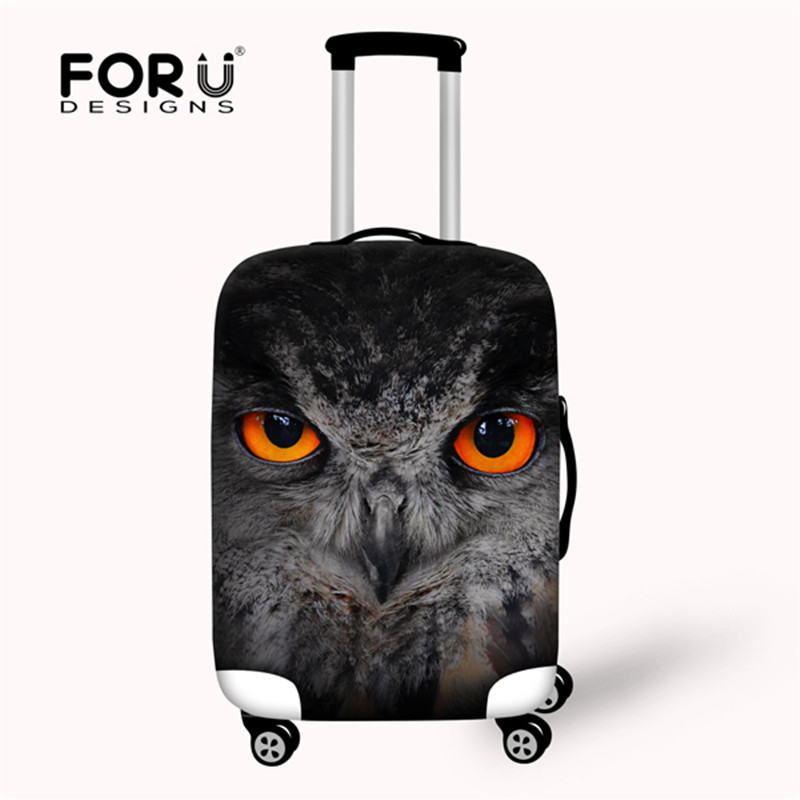 FORUDESIGNS Thick Elastic Luggage Protective Covers For 18 20 22 24 26 28 Inch Trunk Case Black Owl Puppy Travel Suitcase Cover