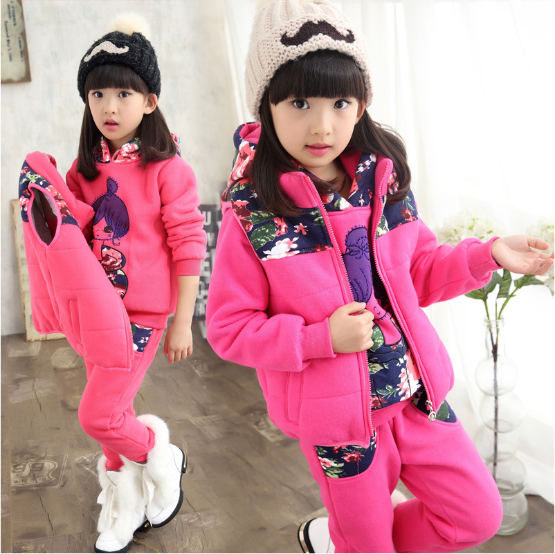 Vêtements d'hiver pour enfants ensemble trois pièces avec velours nouveau ensemble de vêtements de sport pour enfants fille