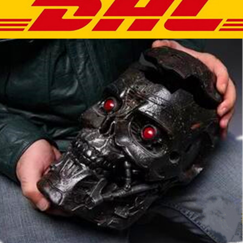 Terminator 2: Judgment Day Statue 1:1 (LIFE SIZE) T600 Skull Storage Box With LED Light Voice Control Collectible Model Toy T106 gmasking terminator 2 t800 endoskeleton skull head statue scale 1 2 replica