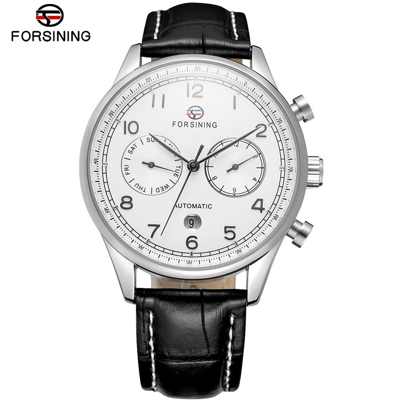 FORSINING New Arrival Fashion Mens Watches Complete Calendar Leather Strap Auto Mechanical Date Men Watch Relogio Masculino new date show mens auto mechanical watch chrono freeship cool