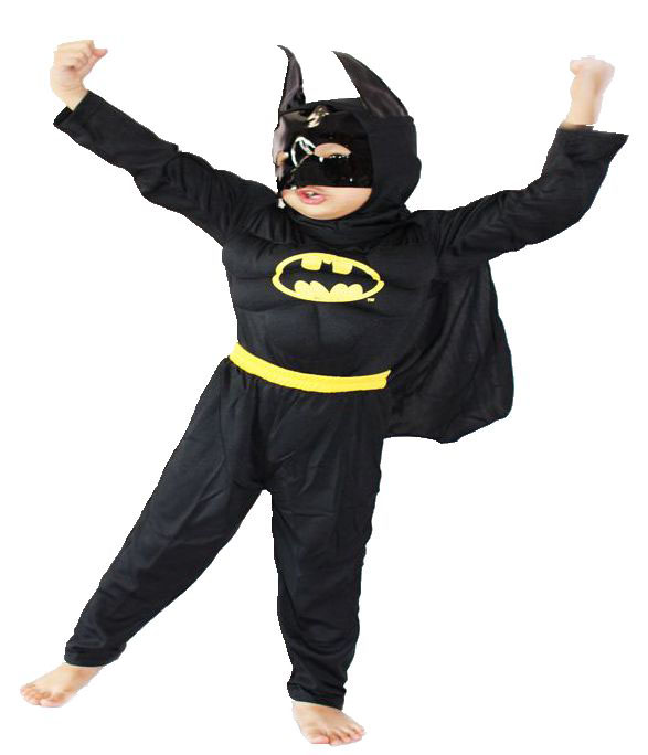 Մեծածախ և մանրածախ Հելոուին երեկույթների զգեստներ սև մկանների բաթմանի մոդելային հագուստ Տղա ՝ դերասանական հագուստ, երկար թև վերնաշապիկ