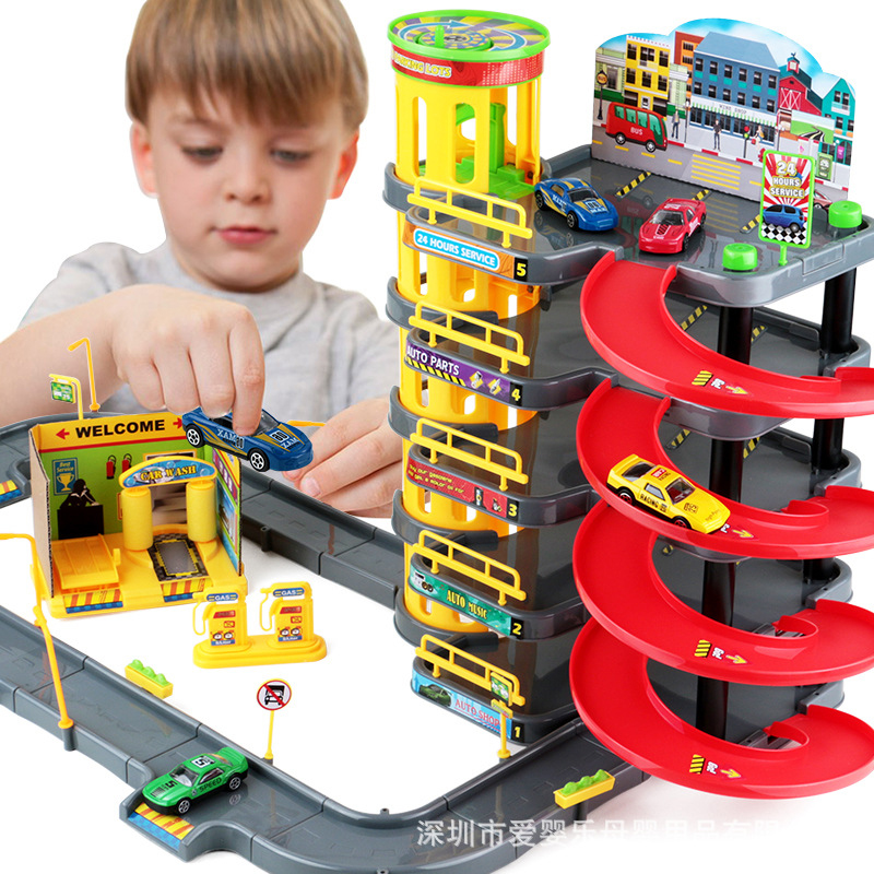 Multi Storey Assembly Kids Tire Parking Toys Vehicle Car Classical Toy Action Toy Figures Transformation Toy Gifts for Kids thinkeasy 8 pcs set puzzle transformation star wars space cars prime bruticus action figures block toys for kids birthday gifts