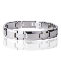 Best Christmas Gift for Boyfriend Husband Solid Silver Female Tungsten Carbide Men Watchband Bracelet Bangle Wholesale Price W9B