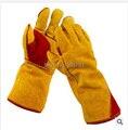Новый 2016 все кожа газовой сварки анти-резки перчатки выложены шерсть загущающие высокотемпературная перчатки охрана труда