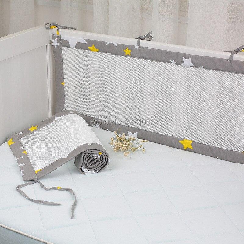 2 teile/satz Atmungsaktive Sommer Baby Bettwäsche Stoßstange Kollision Halb Um Baby Krippe Stoßstangen Bettwäsche Baumwolle Druck Mesh Sicherheit Schienen