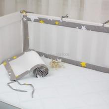 2 шт./компл. дышащие летние детские постельное белье-бампер столкновения половина вокруг детской кроватки Защитные подушки, постельные принадлежности хлопок печати сетки защитные бортики
