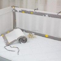 2Pcs/Set Breathable Summer Baby Bedding Bumper Collision Half Around Baby Crib Bumpers Bedding Cotton Printing Mesh Safety Rails