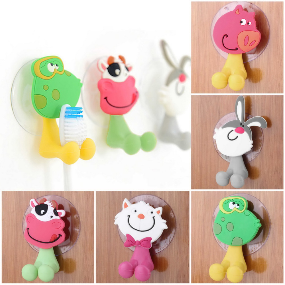 2015 Free shipping cute Cartoon sucker toothbrush holder suction hooks bathroom set accessories Eco-Friendly image