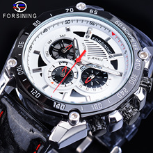 Forsining Male Watch Automatic White 6 Hands Date Display Shiny Genuine Leather Strap Racing Running Glow Hands Mechanical Clock цена и фото