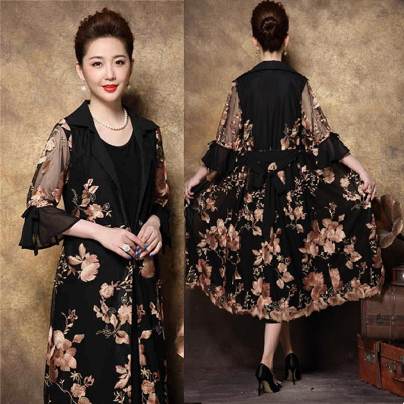 Chinese style Elegant Mother long dress retro Embroidery Twinset dress middle age ladies fall party dress Plus size vestidoXXXXL Платье