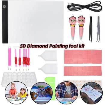 65PCS/Set 5D Diamond Painting Tools Kits Dimmable A4 LED Light Tablet Pad Diamond Embroidery Painting Cross Stitch Accessories