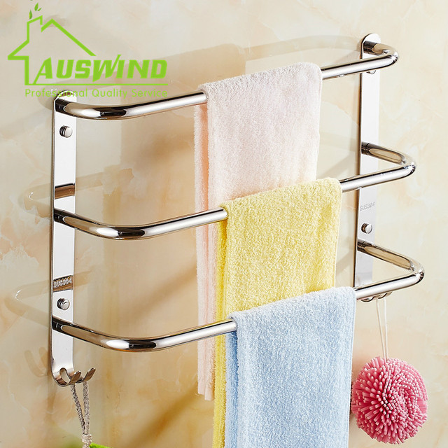 Sus304 Stainless Steel Chrome Towel Bar 3 Layers Wall Mounted Racks With 2 Hooks Small