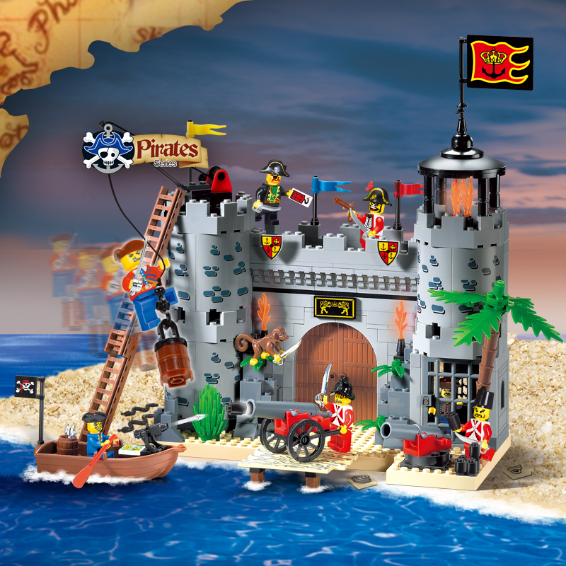 Enlighten Pirates Educational Building Blocks Toys For Children Kids Gifts Minifigures Castle Boat Gun Compatible With Legoe