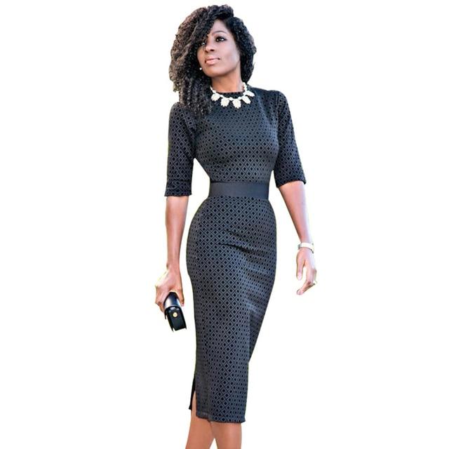 13a34e9b86cb 2017 half sleeve office dress dot vintage high waist vestidos women midi  dress work bodycon business dresses TS009