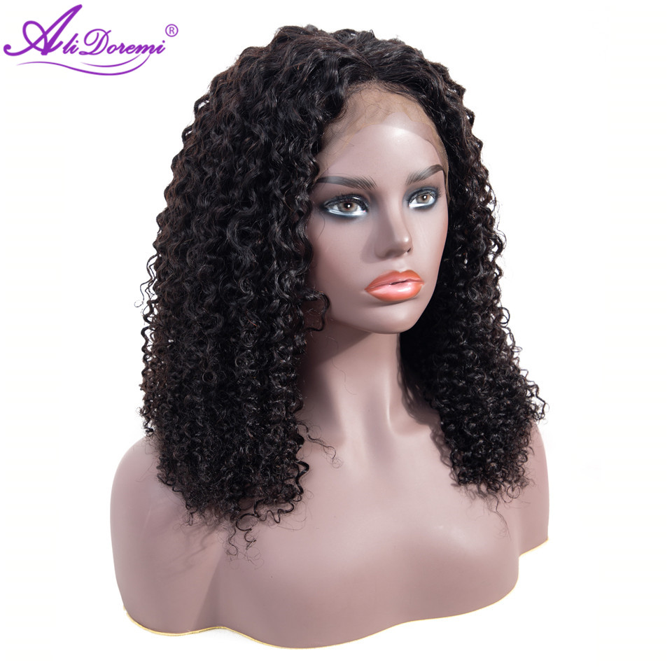 Alidoremi Malaysian Curly 13x4 Lace Front Wig 100% Human Hair Wigs 8-26inch Natural Color Non Remy Hair