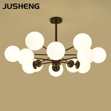 JUSHENG 6/8/12 Heads American Country Retro Ceiling Fixture Pendant Lights Vintage Style Metal Glass Shade Lamp