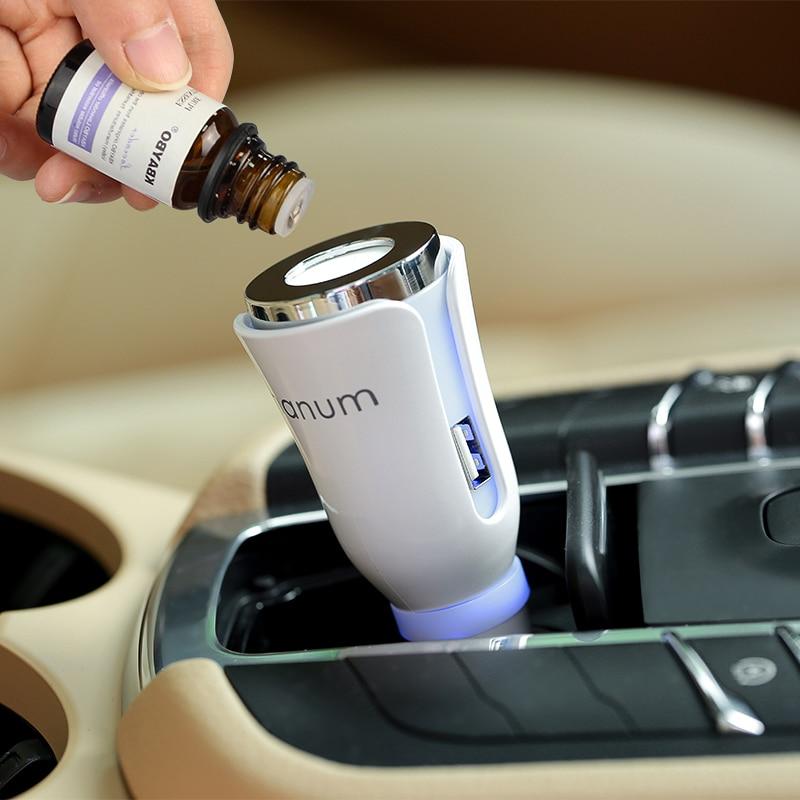Aromaterapia difusor de aroma coche estera del coche difusor con Poder Dual USB y cargador de coche