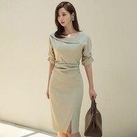 Spring Elegant Slash neck Short Sleeve Women Dress Office Ladies Split Pencil Dress Female Work Business Midi Dress 2019