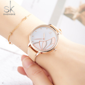 Image 3 - Shengke חדש נשים יוקרה מותג שעון פשוט קוורץ גברת עמיד למים שעוני יד נשי אופנה מזדמן שעונים שעון reloj mujer