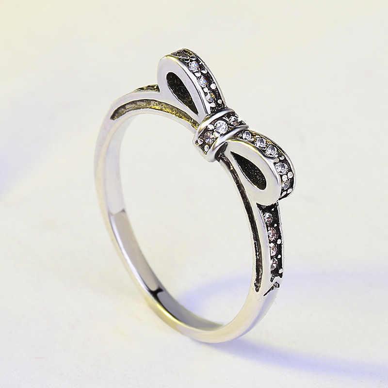 ร้อนขายแท้ 925 เงินประกายโบว์โบว์งานแต่งงาน Vintage ผู้หญิงแหวนคริสตัล 925 เงิน Anillos De เครื่องประดับ