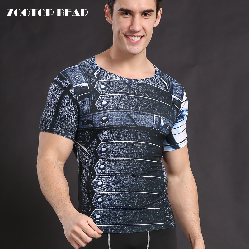Winter soldier Costume Captain American T shirts Compression Tights Shirts Crossfit Clothing Male Armor Cosplay Tops ZOOTOP BEAR