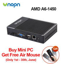 Vnopn Fanless Windows Mini PC AMD A6-1450 Quad-core WIFI 8G RAM DDR3 HDMI VGA Dual Display HTPC Barebone Gaming Computer Desktop(China)