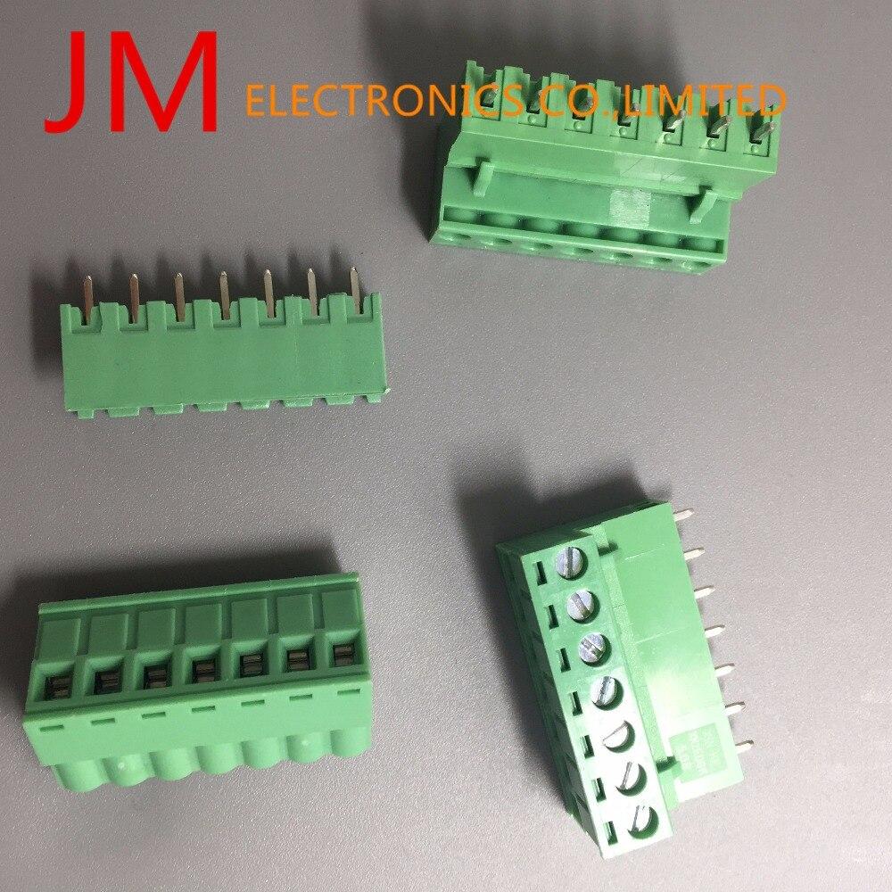 30Pcs 300V 10A 7P Pins Pcb Screw Terminal Block Connector 5.08Mm Pitch Army Green