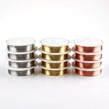 Produção de joias de fios de latão, 0.2/0.3/0.4/0.5/0.6/0.8mm, produção de joias diy fio de cobre prata vermelho ouro banhado miçangas