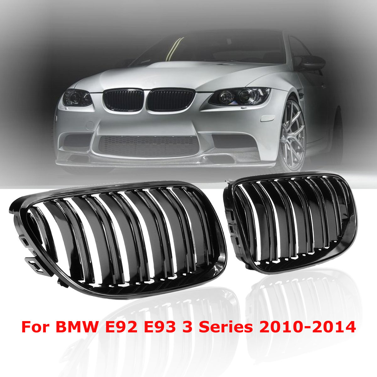 For BMW E92 E93 328i 335i 2010 2011 2012 2013 2014 Pair Gloss Black Front Bumper Kidney Grill Grille Dual Double Line Slat car bight glossy black double slat front grille grill for bmw e92 lci facelift e93 2011 2012 2013 c 5