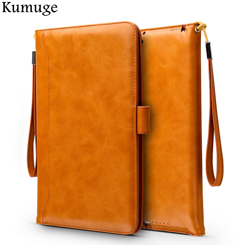 Case for iPad Pro 9.7 10.5 Ultra Soft Retro PU Leather Tablet Flip Stand Cover with Hand strap Holder for iPad 9.7 10.5 inch Bag flip left and right stand pu leather case cover for blu vivo air
