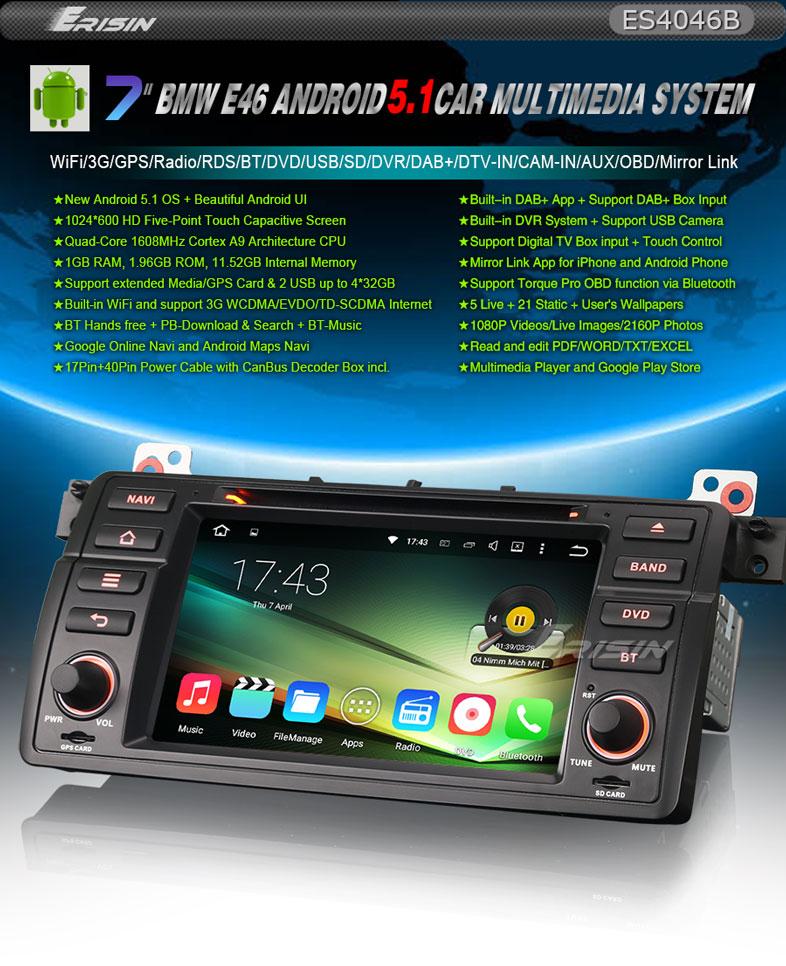 BMW ANDROID 5 1 QUAD CORE E46 M3 ROVER MG DAB+ INTERNET GPS WIFI 3G DVD RADIO SD