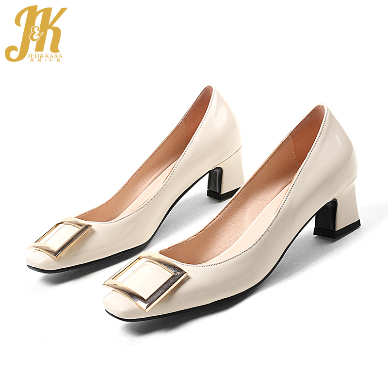 Jk Big Size 43 Women Pumps Med Heels Cozy 4 Cm Thick Heel Lady Nude Black Pumps Office -7021
